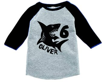 Shark Birthday Shirt - 3/4 or long sleeve relaxed fit raglan baseball shirt - Any age and name - pick your colors!