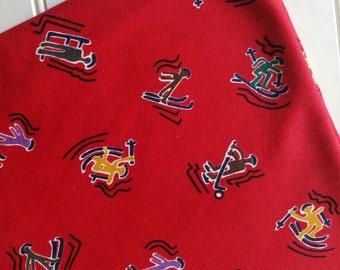 Interlock-Knit-Winter-Sports-Red-Ski-Hocky-Fabric-By-The-Yard-Kaufman-Kids-Baby-Dads-Granddads-Fashion-Apparel -Sewing-DIY-Crafts-Supplies