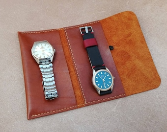Leather Watch Roll, Personalized, Watch case, Watch Organizer, Travel Case, Watch Pouch, Watch Roll Leather, Handmade roll, Make up roll