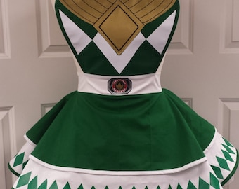 Green Power Gaurdian Retro Cosplay Apron