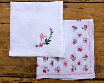 Pair of Vintage Embroidered & Printed Hankies 25cm sq