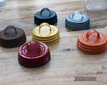 Vintage Reproduction Mason Jar Lids With Handles 6 Colors | For Regular Mouth Mason / Ball / Canning Jar | Orange / Red / Yellow / Antique