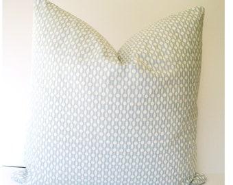Light Blue Pillow Kravet Pillow Cover Sarah Richardson Pillow Chambray Geo Pillow Cover 0