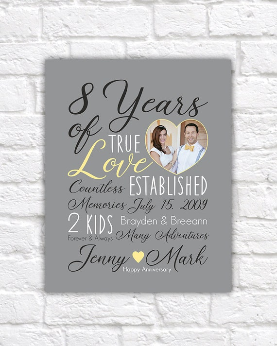 One Year Wedding Anniversary Gifts For Him: Wedding Anniversary Gift Choose ANY YEAR 8th Anniversary 8