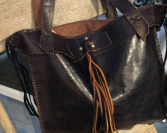 Leather Shopping and Tote