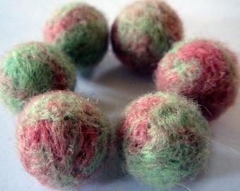 6 Wool Beads - Needle Felted Balls - Berry Mint Tea Mix - Felt Ball Beads - Needlefelted Round Wool Balls - Pink and Mint Green Woolen Beads