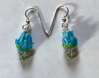 Blue Lampwork Tulip Earrings with a Swarovski Crystal at the bottom