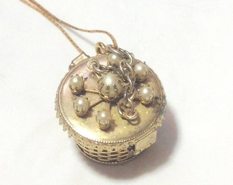 Vintage Basket Pendant Necklace