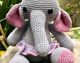 Crochet Ellie the Elephant doll- Big