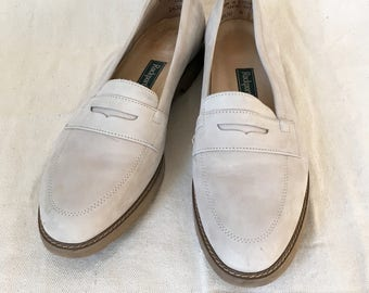 Vintage Pale Suede Loafers