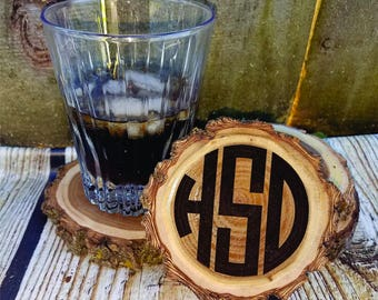 Circle Monogram coasters, engraved coaster set, monogrammed gift, rustic wood coaster, custom wood coasters, tree slice coasters, Christmas