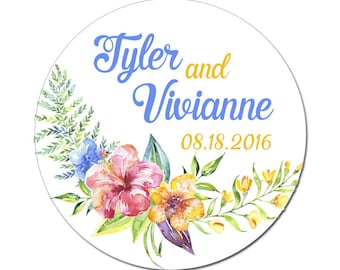Custom Wedding Labels Personalized Tropical Flowers Watercolor Florals Round Glossy Designer Stickers - Quantity 100