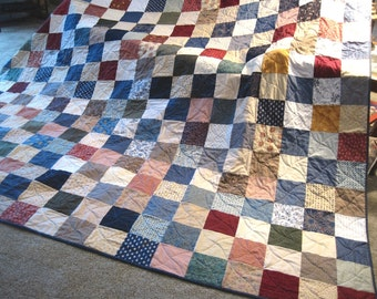 Traditional Queen or King Size Patchwork Quilt. Custom Made Nostalgic Quilt.  Wedding Anniversary Gift. Farmhouse decor. Quilted blanket. 9