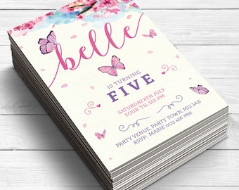 Butterfly Invitations, Butterfly Birthday Invites, Butterfly Party Invitation, Girls Birthday Invitations, Pink and Purple, Fifth Birthday