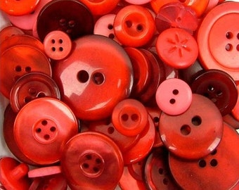 Bulk Buttons Assorted Red Buttons Haberdashery Classic  Reds Mix Mixed Button Collection Christmas Santa