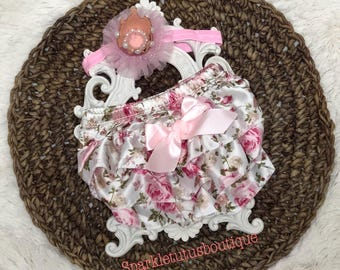 Newborn Floral Baby Bloomer, diaper cover, pink crown headband