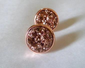 Rose gold  druzy stud earrings, druzy stud earrings, 12mm rose gold earrings, yellow gold studs.