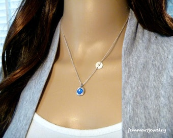 Birthstone Crystal Necklace Personalized with Sideways Initial Charm great for Bridesmaid Party Gifts for Wedding Jewelry