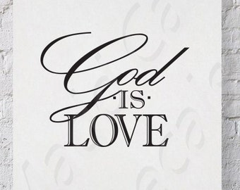 God Is Love Vinyl Wall Decal Quote Scripture