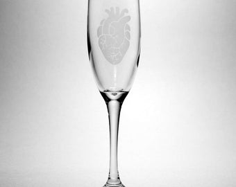 Anatomical Heart Champagne Flute - romantic wedding toasting glasses