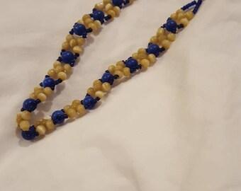 Blue and Beige Beaded Bracelet or Anklet