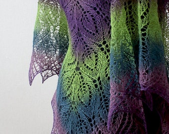 Hand knit  lace shawl - purple, green spring