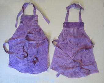 Upcycled Man's Shirt into a Set of Hand-Dyed  Aprons for Adult & Child