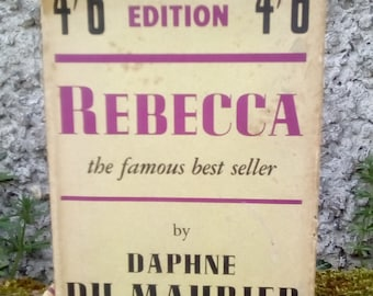 Rebecca, Daphne du Maurier, early edition, 1947, with dust jacket. Classic tale of mystery and paranoia.