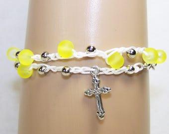 Yellow Beaded Rosary Bracelet, Crochet Bracelet, Religious Bracelet, Beaded Bracelet, Catholic Bracelet, Free shipping