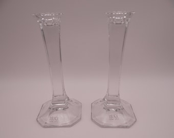 "Vintage Signed Mikasa ""Hyde Park"" Crystal Candlesticks Candle Holders"