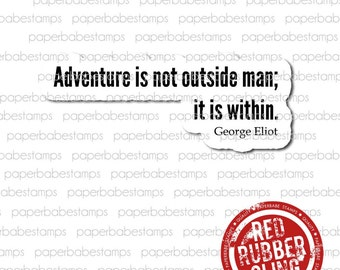 Art Quote 'Adventure Within' - Paperbabe Stamps - Red Rubber Cling Mounted Stamp - Typography for Mixed Media, paper crafting, scrapbooking.