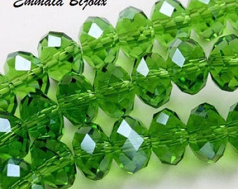 20 faceted green Crystal 8 x 6 mm
