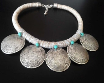 African Ethnic Necklace | Wrapped Cotton Necklace | Boho Statement Necklace | Tribal Necklace | Rope Necklace | Collar | Ethnic Boho Jewelry