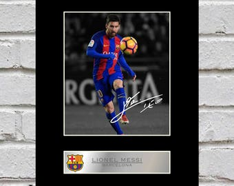 Lionel Messi 10x8 Mounted Signed Photo Print Barcelona
