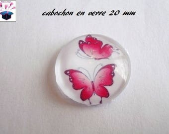 1 cabochon clear 20mm Butterfly motif theme