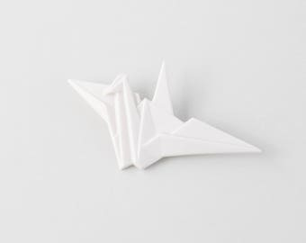 PORCELAIN  BROOCH CRANE/Porcelain origami/Origami pin/Origami brooch/Porcelain pin/Origami pig/Japaneese origami/Japaneese gift