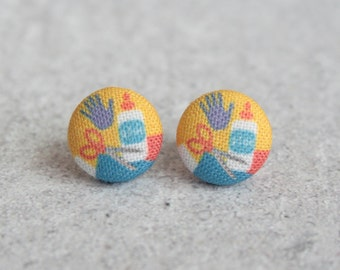 Back to School Fabric Button Earrings