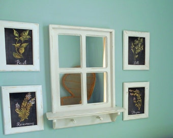 Rustic Farmhouse Mirror and Framed Herbs Kitchen Wall Art