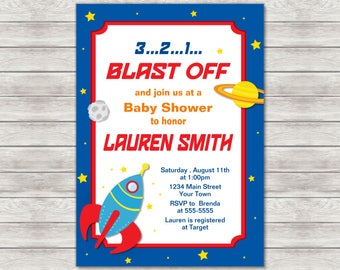Rocket Baby Shower Invitation, Astronaut Baby Shower Invitation - Digital File (Printing Services Available)