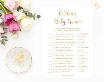 Celebrity Baby Names, Celebrity Baby Game, Gold Baby Shower Game, Gender Neutral Baby Shower, Printable Digital, GFBS, INSTANT DOWNLOAD