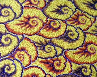 "fabric ""ammonite"" on yellow background"
