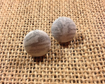 Silver Scribbles - Fabric Button Earrings