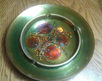SASCHA BRASTOFF Enamel Over Copper Floral Mid Century  ASHTRAY
