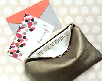 Cosmetic Bag, Bag Cosmetic, Personalized Clutch, Clutch Personalized, Personalized, Custom Message Makeup Bag with Personalized Message