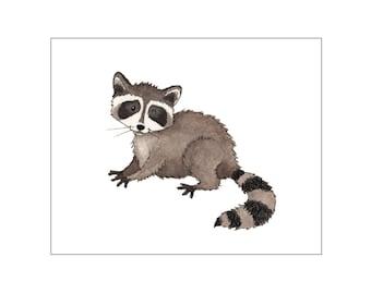 Nursery art print, printable art wall decor, baby room, woodland nursery, woodland baby room, raccoon art, custom digital, DIY