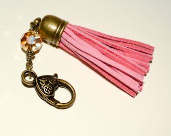 Tassel Keyring, Boho Bag Charm, Tassel Clip, Purse Charm, Pink Suede, Bag Clip, Keychain Clip, Pink Boho Tassel, Handbag Charm, Zipper Charm