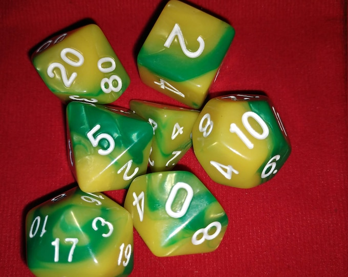 Lemon Lime - 7 Die Polyhedral Set with Pouch