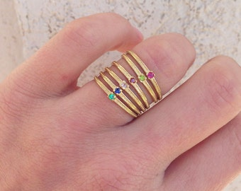 20% off- SALE!! Any Birthstone Ring  - Thin Ring - Gold Ring - Stacking Ring - Hammered Ring - Tiny Ring - Simple Ring - Slim Band