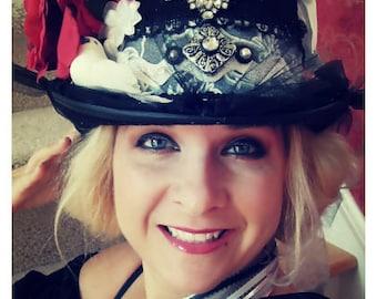 NIGHTBIRD, Custom, Black Felt Top hat, with Embellishments, for Weddings, Honeymoon, Costume,Bachelorette, Girls Night,Lingerie, Dance