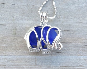 Sea Glass  Elephant Necklace Locket Frosted Cobalt Blue by Wave of Life™